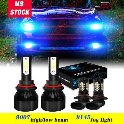 For 2003-2005 Dodge Ram 1500 2500 3500 4X 8000K LED Headlight + Fog Light Bulbs