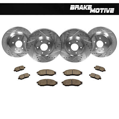 Front+Rear Drilled Slotted Brake Rotors And 8 Ceramic Pads Fit EX35 G35 G37 350Z