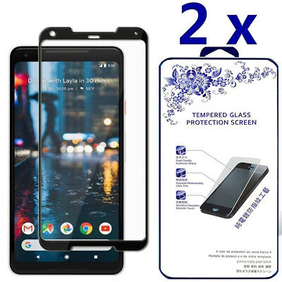 2 Pack For Google Pixel 2 Xl Full Cover Tempered Glass Screen Protector  Black