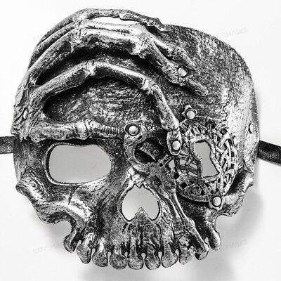 Masks For Masquerade Ball Men (Silver Skull Venetian Masquerade Ball Mask for Men Women Mardi Gras Party)