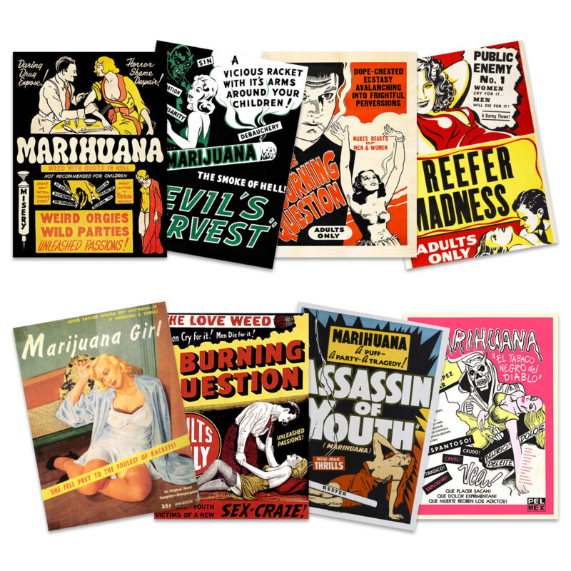 Weed Reefer Madness Cannabis Marijuana Drugs Unframed Art Print Poster Pack of 8