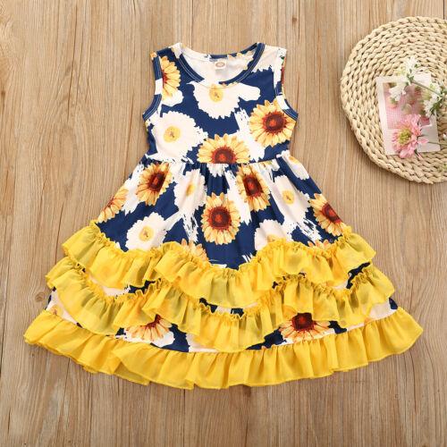 NEW Girls Sunflower Blue Floral Ruffle Dress 2T 3T 4T 5T 6