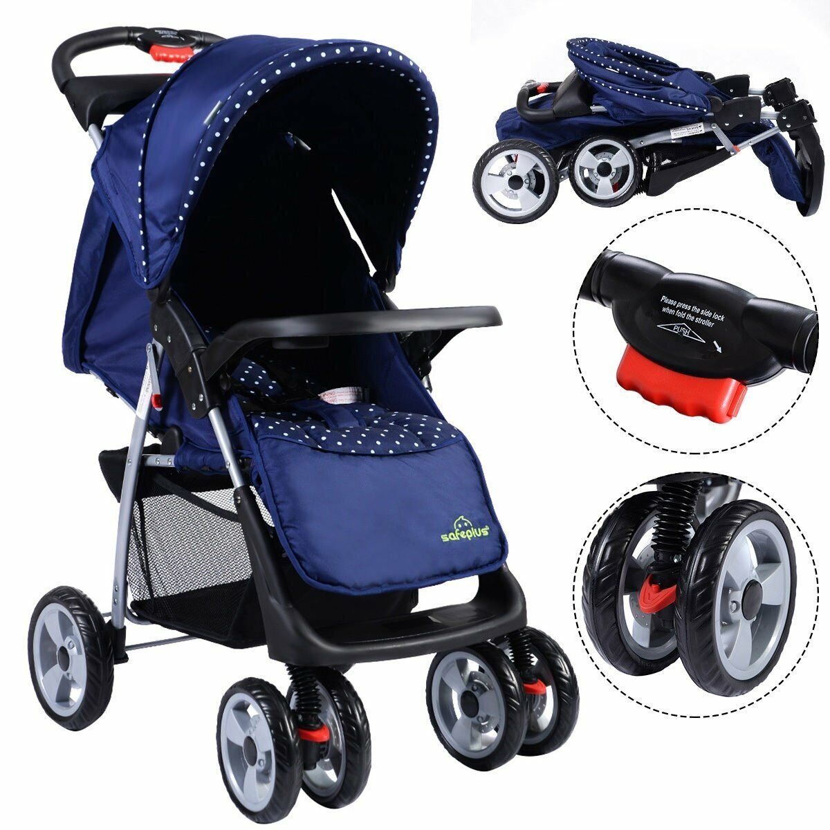 Lightweight Foldable Baby Carriage Stroller Travel System Po