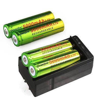 4pcs Skywolfeye 18650 Battery Rechargeable 3.7v 5000mAh Li-ion Cell Bat+ Charger