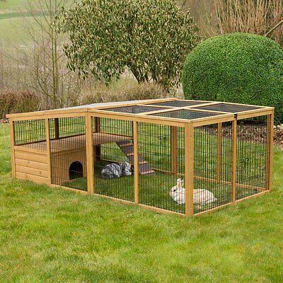 Freilaufgehege mit Ausbruchsperre Freigehege für Kaninchen Nagerhaus Nagerstall