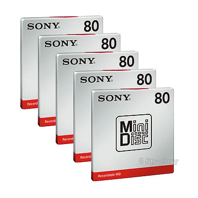 New! Sony MD80 Blank Mini Disc 80 Minutes Recordable 5 Packs from Japan