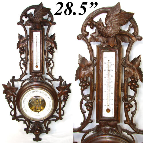 """Fab Antique Black Forest Carved 28.5"""" Wall Barometer, Thermometer: Bird & Leaves"""