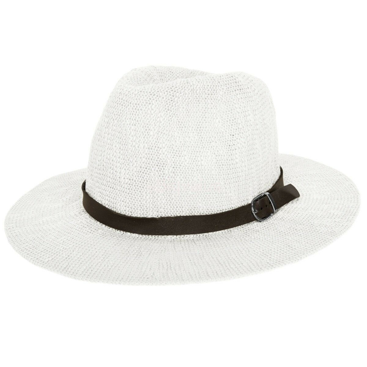 63e004cac Details about Aerusi Women Ladies White Wide Brim Fedora Floppy Summer  Beach Hat Sun Straw Cap
