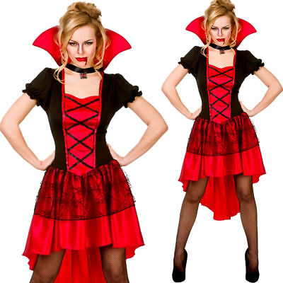 Glamorous Vampire Outfit Halloween Ladies Fancy Dress Vampiress - Glamorous Halloween Outfits