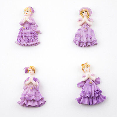 4 Miniature Doll Figurines Sweet 16 Party Favors Purple Quinceanera Doll Favors - Sweet 16 Purple Decorations