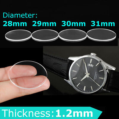 28/29/30/31mm Clear Flat Sapphire Glass Watch Crystal Replacement 1.2mm Thick Crystal Clear Gläser