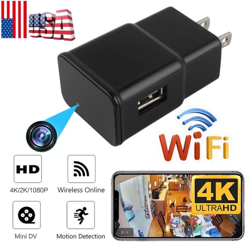 Mini USB Wall Charger Recorder Motion Camera HD 1080P WiFi Power Adapter US Plug