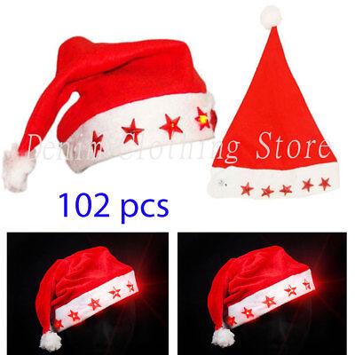 102 pcs ADULT FLASHING SANTA HAT XMAS LIGHT UP CHRISTMAS HOLIDAY WHOLESALE LOTS - Light Up Hats Wholesale