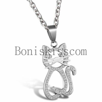 - Lovely Cat Heart Charm Animal Stainless Steel Womens Girls Pendant Necklace