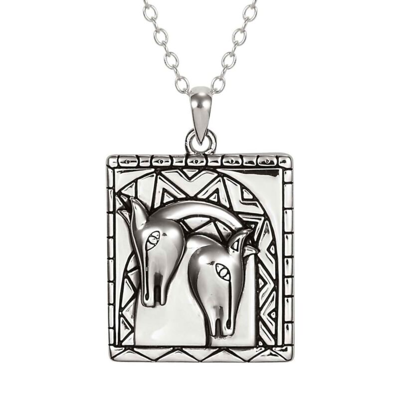 "Embracing Horses Silver Laurel Burch Necklace 18"" Chain"