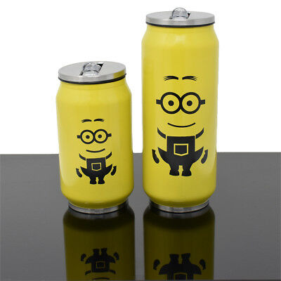 KOLLOX Cola Can Stainless Steel Water Bottle Yellow Minion Insulated With Straw](Yellow Water Bottle)