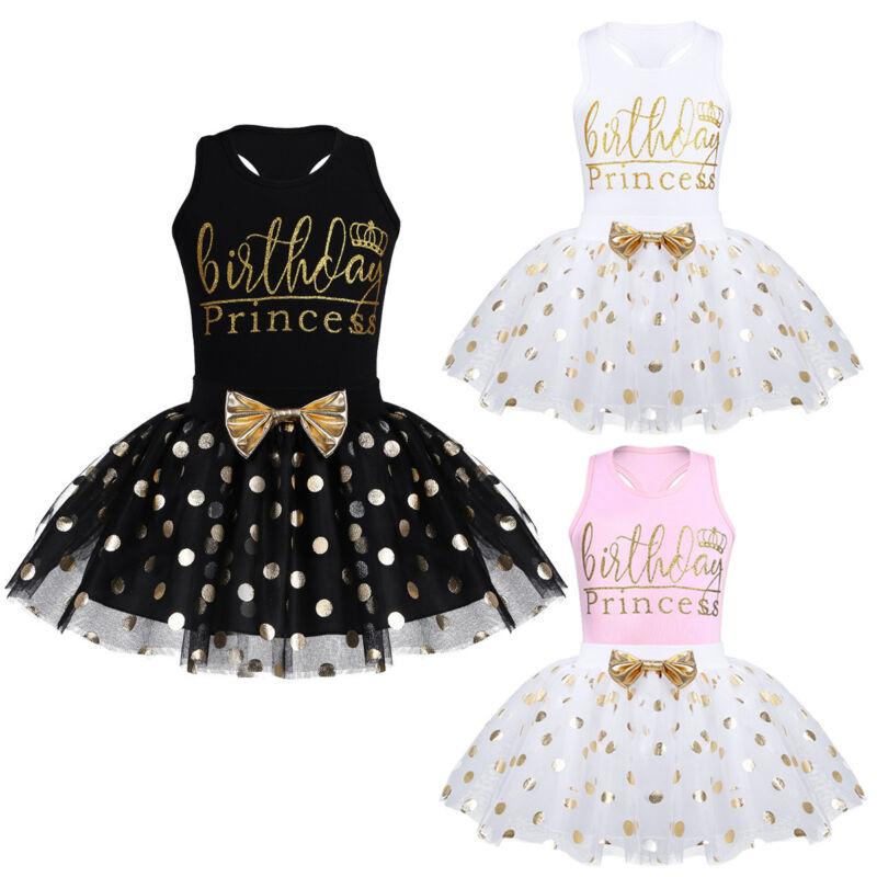 Toddler Kids Baby Girl 1 Piece Bowknot Princess Dress Polka Dot Cake Tutu Skirt+Hat Skirt Outfit
