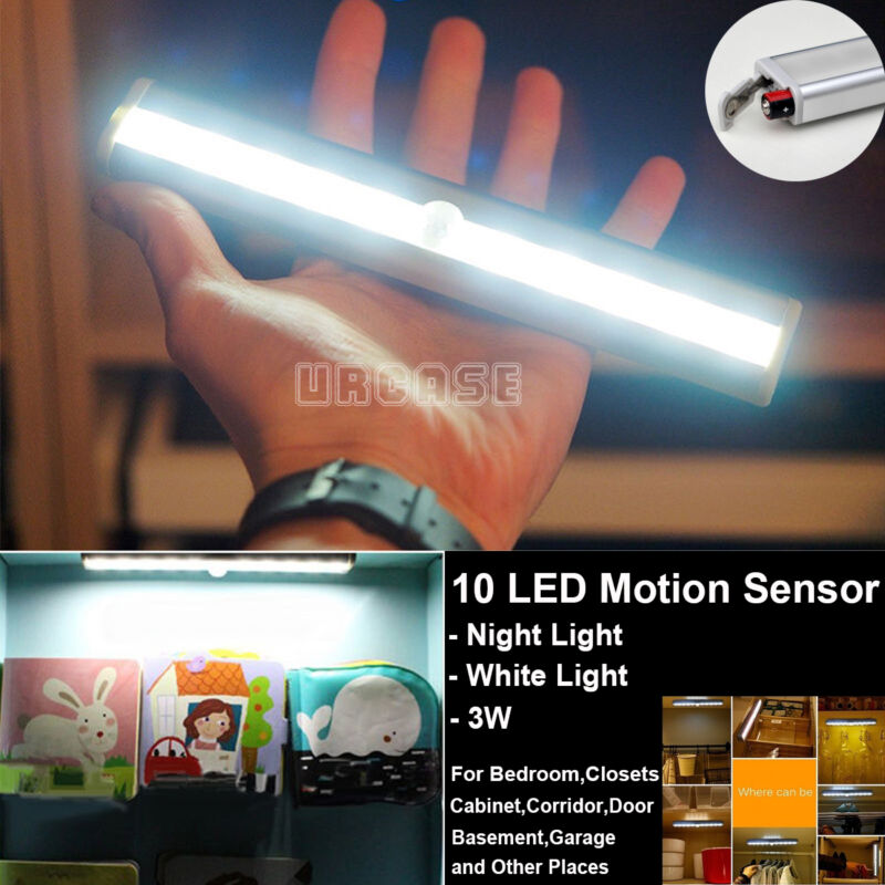 10 LED Light Bar Battery Operated Wireless Motion Sensor Detector Night Light