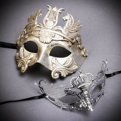Elegant Silver Masquerade Masks for Couples Party Ball Men Women Venetian Masks - Man Masquerade Masks