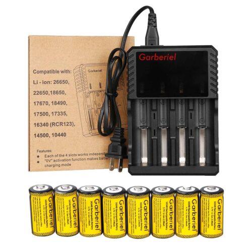 8Pcs 16340 CR123A Battery 3.7V Li-Ion Rechargeable Batteries