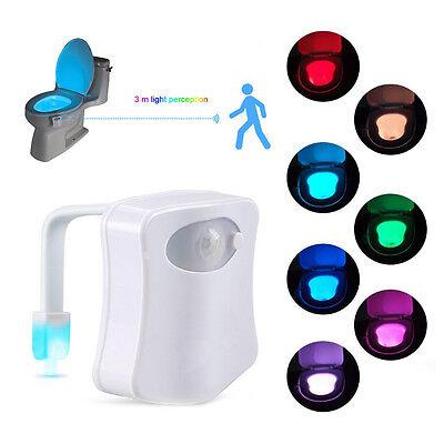 New LED Toilet Bathroom Night Light Human Motion Activated Seat Sensor Lamp USPS