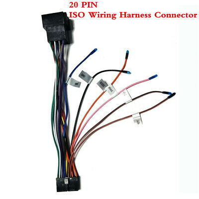 Vehicle Stereo 20PIN ISO Wiring Harness Connector Fit For ISO DVD Android System