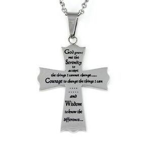 Serenity Prayer Cross Pendant Necklace Stainless Steel 20