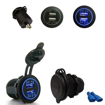 BLUE LED Angel Eye Ring 12 24V Dual USB Car Charging Socket Power Adapter Outlet