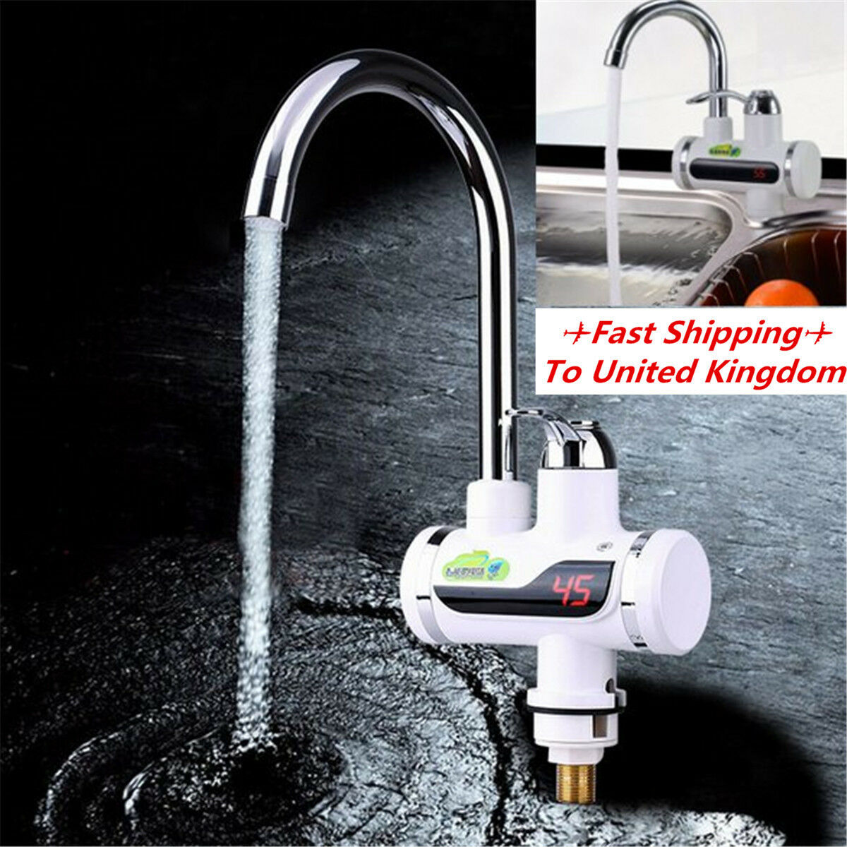 360° LED Electric Digital Fast Instant Faucet Tap Water Heater Hot ...