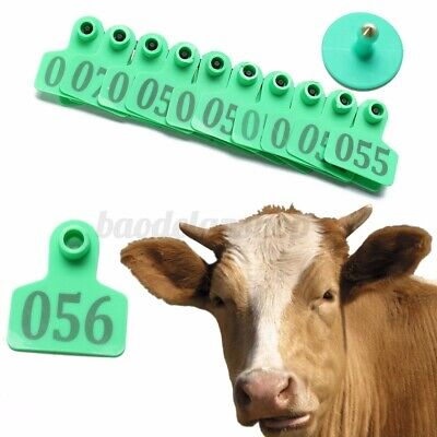 1-100pcs Livestock Sheep Animal Cow Ear Tags Id Labels For Tag Applicator Plier