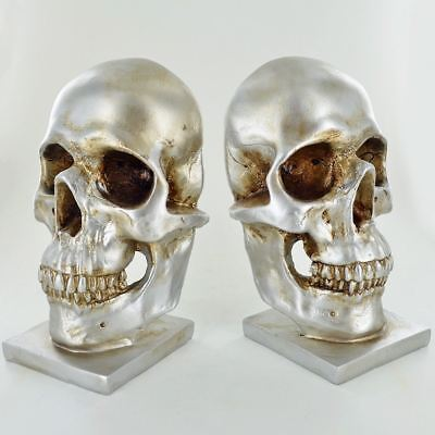 Silver Skull Bookends Home Office School Desk Book Ends Decorative Bookshelf