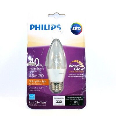 (Philips 40W Equivalent Soft White B11 Dimming Blunt Tip Candle LED Bulb-10 avail)