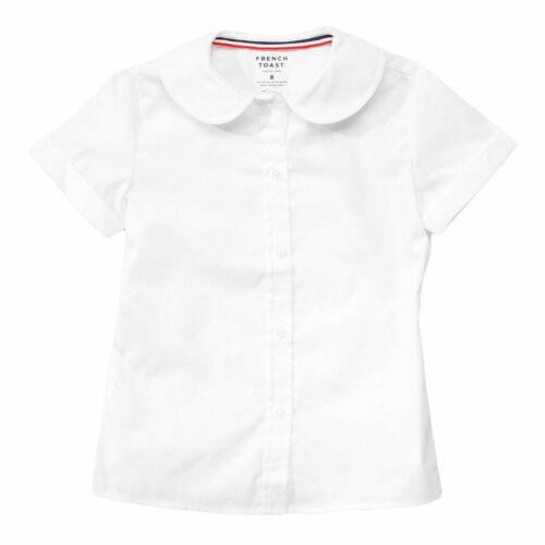 Girls Short Sleeve Peter Pan Poplin Blouse Uniform French Toast Sz 2T-20 White