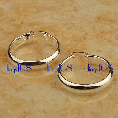 (925 Sterling Silver Tarnish-Resistant Medium-Size 5mm Flat Hoop Earrings ZG2)