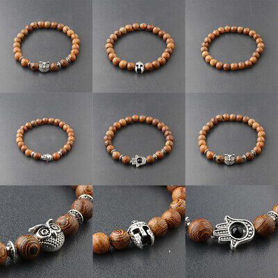 - Fashion Men Women 8MM Multilayer Wooden Bead Elasticity Charm Balance Bracelets