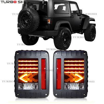 For 07-17 Jeep Wrangler JK LED Tail Lights Brake Reverse Rear Turn Signal Lamp