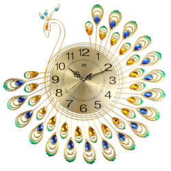 Golden Luxury Peacock 3D Large Wall Clock Modern Metal Big Watch Decor Gifts
