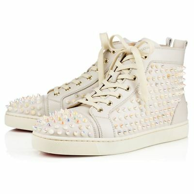 NIB - CHRISTIAN LOUBOUTIN Men's 'LOUIS FLAT' SPIKES Ivory SHOES - 42.5 (9.5 US)