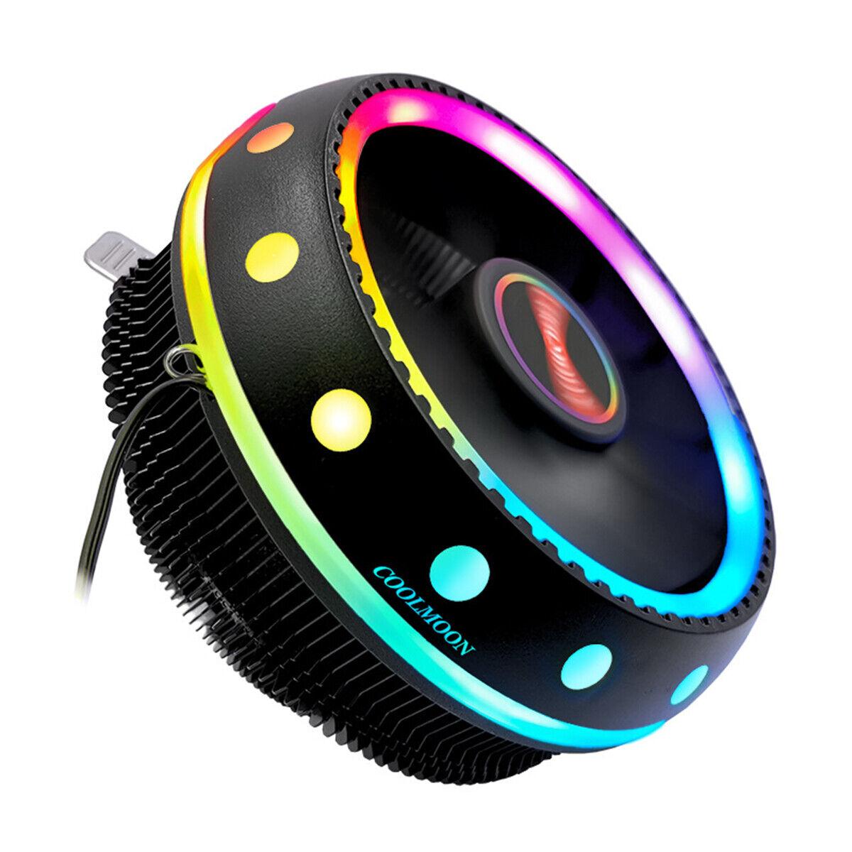 RGB CPU Cooler LED Air Heatsink Intel AMD PC Processor Deskt