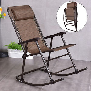 Folding Rocking Chair Porch Patio Indoor Foldable Rocker Seat With Headrest