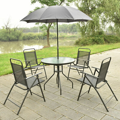 Garden Furniture - 6 PCS Patio Garden Set Furniture 4 Folding Chairs Table with Umbrella Gray
