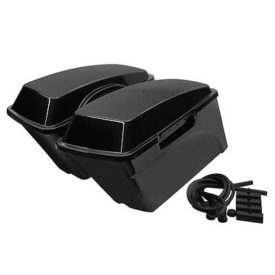 Left Right Vivid Black ABS Hard Saddle Bags Saddlebags For Harley Touring Models