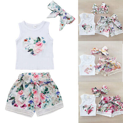 3Pcs Kids Baby Girl Summer Clothes Tank Crop Top Vest + Shorts Pants Outfits Set