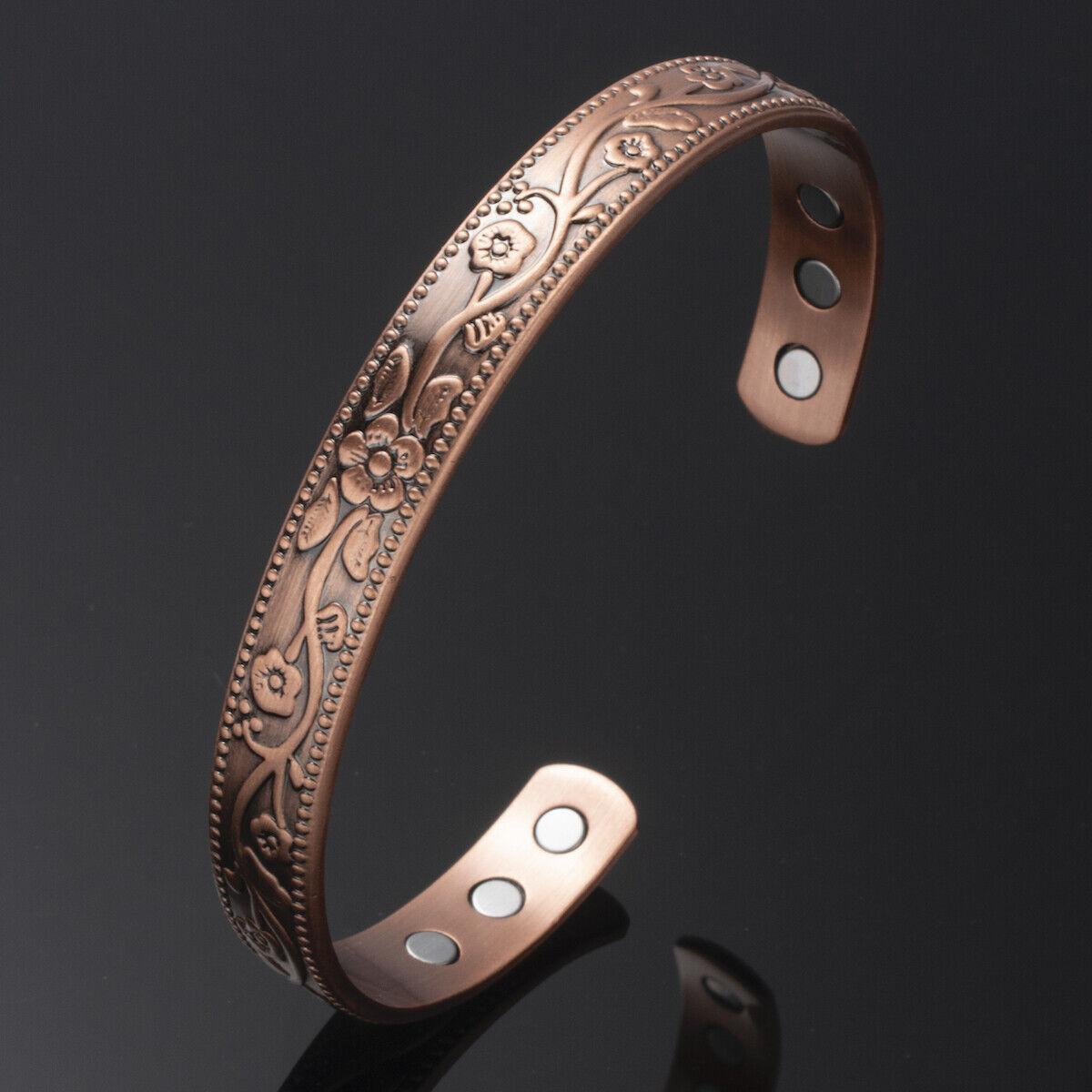 Damen Armreif Kupfer Magnetarmband Natürliche Therapie Armspange 15-18cm