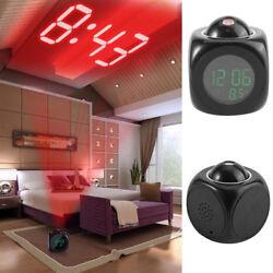 US Digital Alarm Clock Multifunction w/ Voice Talking LED Projection Temperature