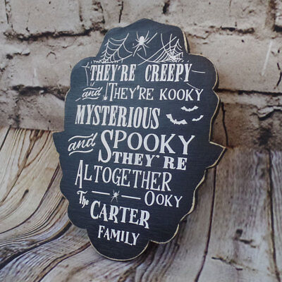 The Addams Family Lyrics Personalized Halloween Gothic Home Decor Wood Sign (Gothic Halloween Decor)