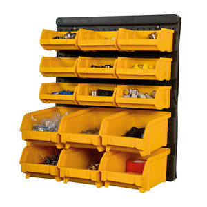 Plastic-Bin-Kit-Wall-Garage-Storage-Parts-Bins-Tool-DIY-Organiser-Shelving-Unit