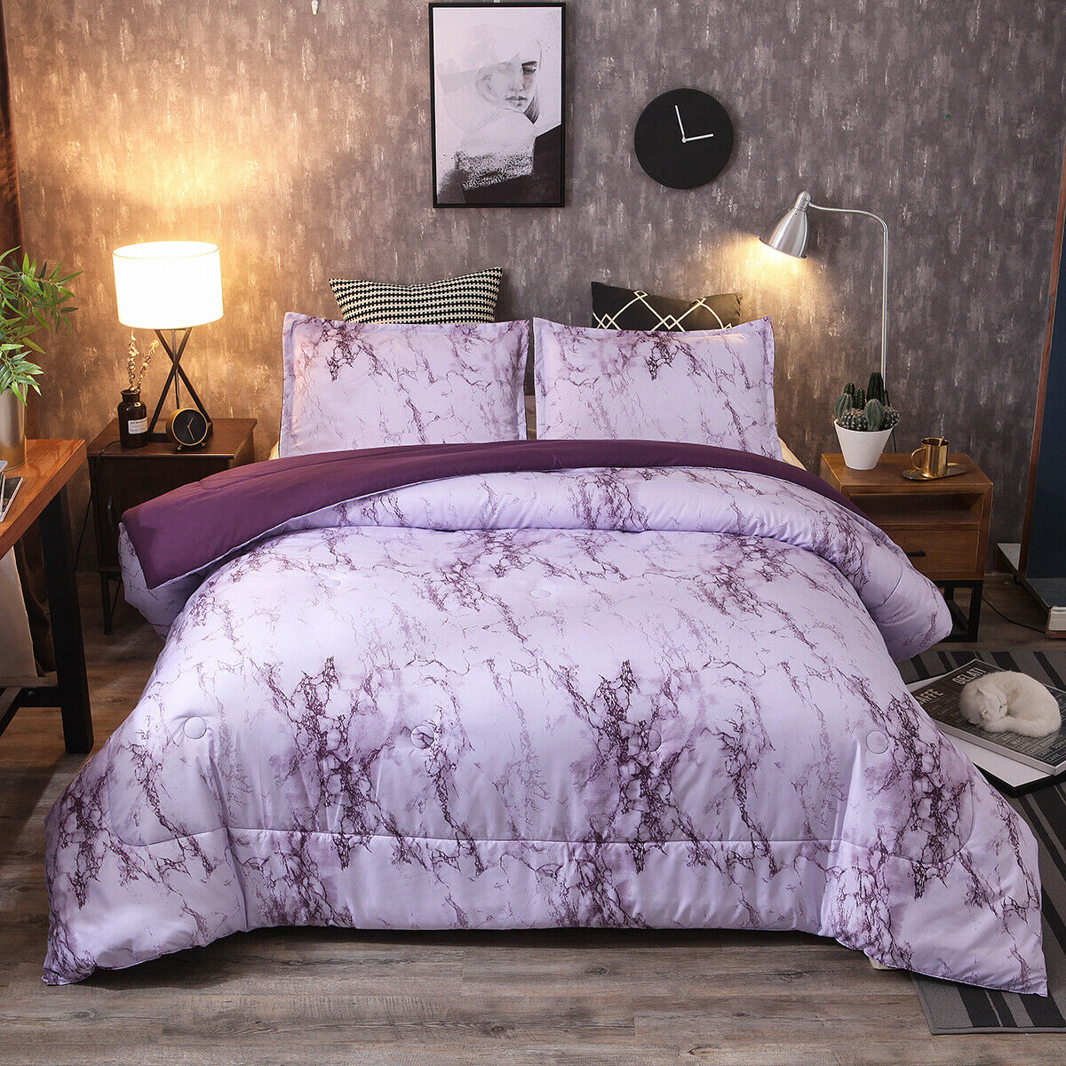 Soft King Size Comforter Pillow Cases Set Quilted Warm Bed Home Marble Purple