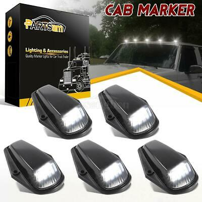 (5) Roof Running Black Lens White 12 LED Cab Lights For Ford F-150/250 1973-1997