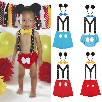 ngen 1. Geburtstag Party Kostüm Hosenträger Shorts Set 4tlg  (Mickey Mouse Jungen Kostüm)